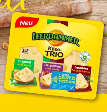 Kostenlos: Leerdamer Käse TRIO gratis testen dank Geld-zurück-Garantie