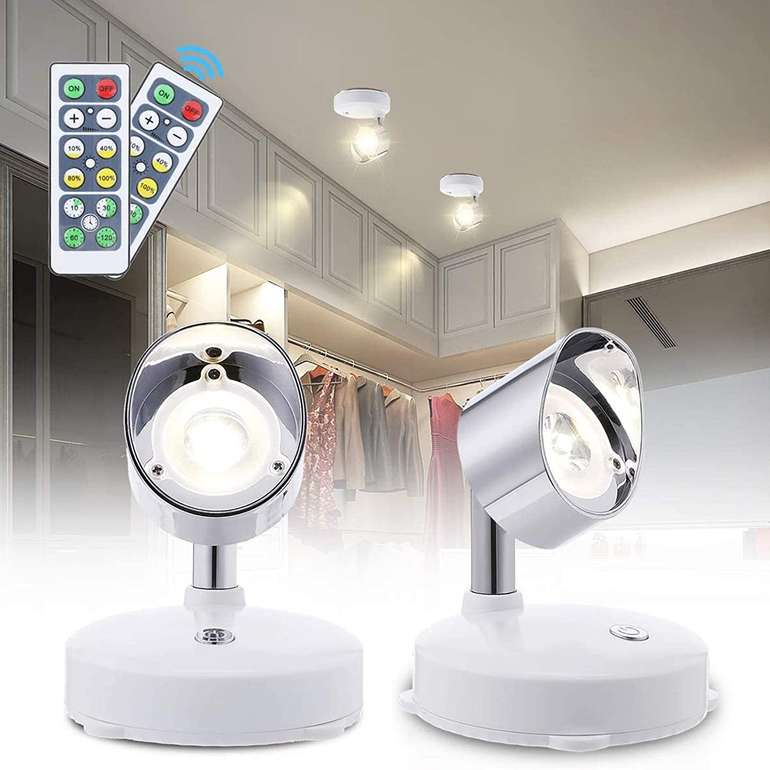 Elfeland 2er Set LED Wandstrahler (4000K, Schalter, Fernbedienung) für 11,94€ inkl. Prime Versand