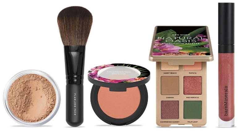bareMinerals Natural Oasis Set: Orig. Foundation 8g Lidschatten, Blush Lipgloss & Pinsel für 49,34€