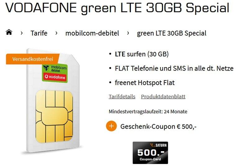 Vodafone green Allnet-Flat mit 30GB LTE 2