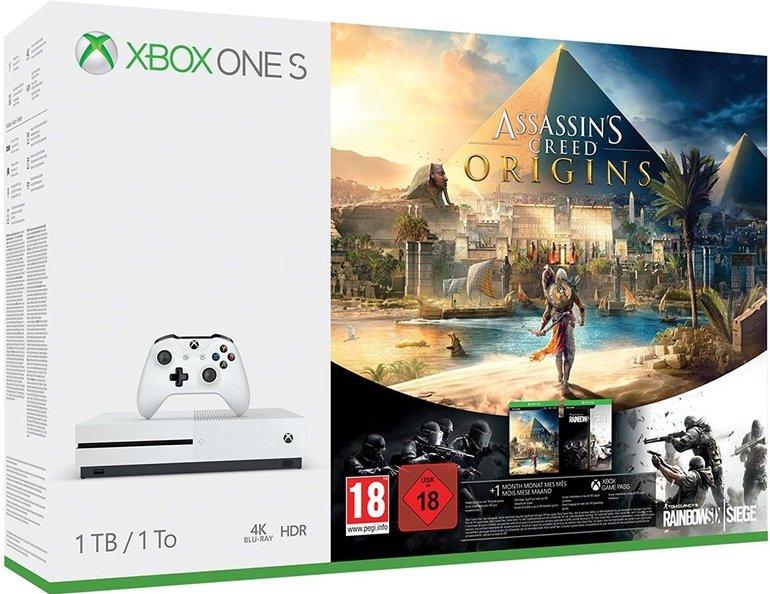Microsoft Xbox One S Konsole 1TB + Assassin Creed Origins + Rainbow Six für 249€