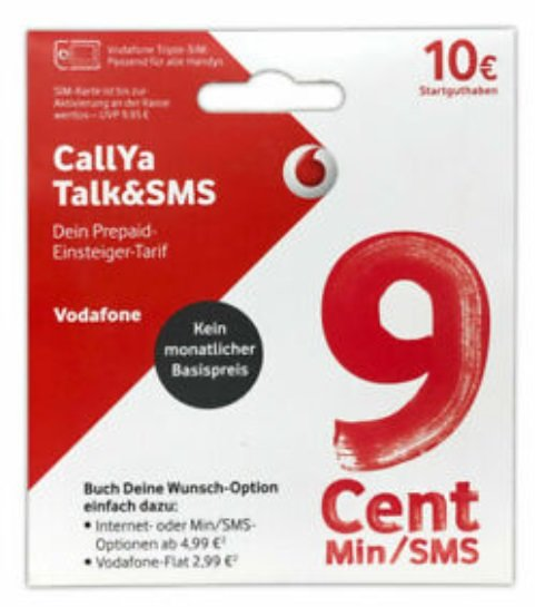 Vodafone CallYa Talk & SMS Prepaid Karte mit 10 € Startguthaben kostenlos