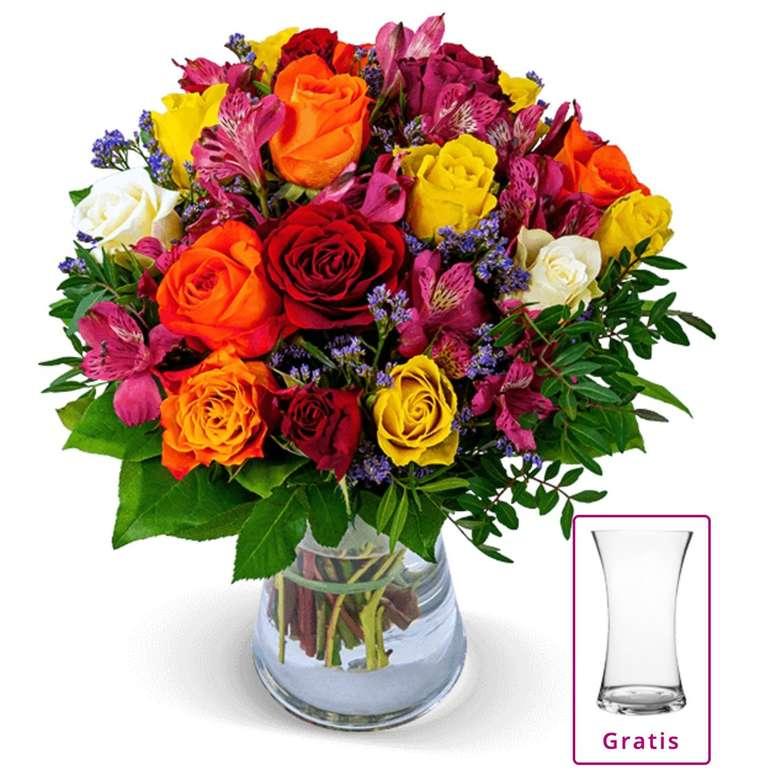 Rosenstrauß Farbwunder inkl. Vase für 24,98€ inkl. Versand