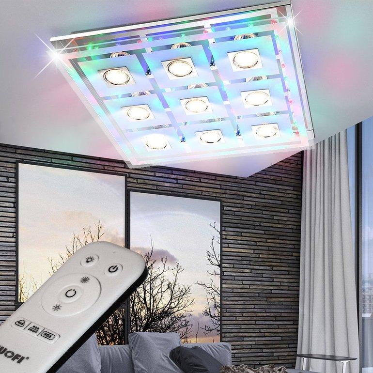 Wofi RGB LED Wohnzimmer Deckenleuchte mit Fernbedienung für…