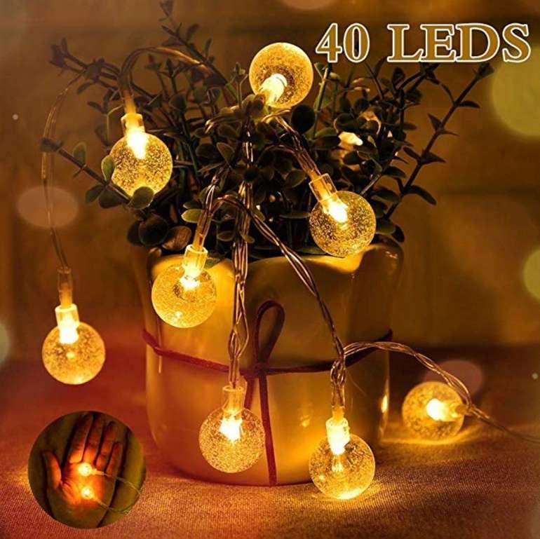 Diki LED Ball Lichterkette mit 40 LEDs 2 Beleuchtungsmodi für 6,99€ (statt 14€) - Prime!