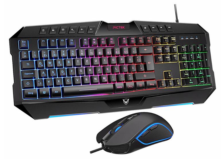 Pictek Gaming Tastatur und Maus (kabelgebunden, programmierbar) für 19,99€