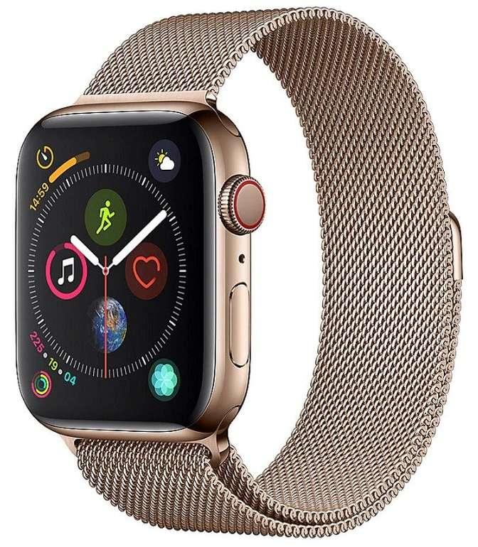 Apple Watch Series 4 44mm (GPS + Cellular) mit Edelstahlgehäuse in Gold + Milanaise Armband für 550€