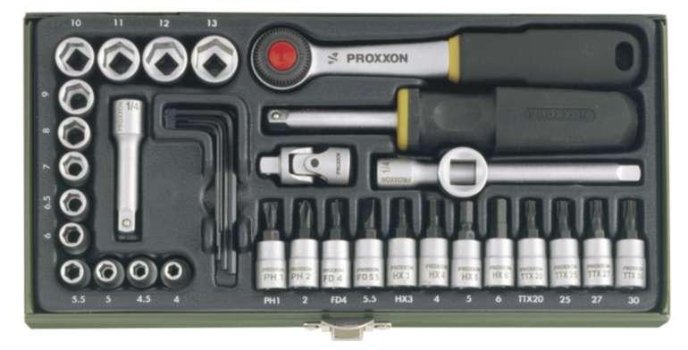 """Proxxon Feinmechaniker-Steckschlüsselsatz 23080 mit 1/4""""-Ratsche (36-teilig) für 27,55€ inkl. Versand"""