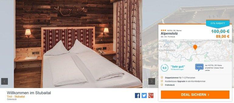 Stubaital Übernachtung im 3 Hotel inkl. Frühstück + Sauna