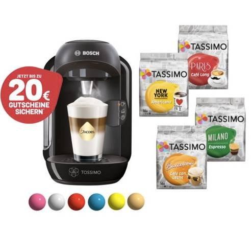 TASSIMO VIVY + 20€ Gutschein (2×10€) + 4x T-Discs Packungen für 39,99€