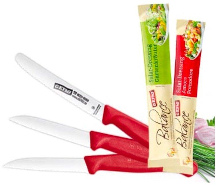 Gefro Messer Set: 3x Tomatenmesser + 2x Gemüsemesser (+ 2x Salatdressing) für 15,31€ inkl. Versand