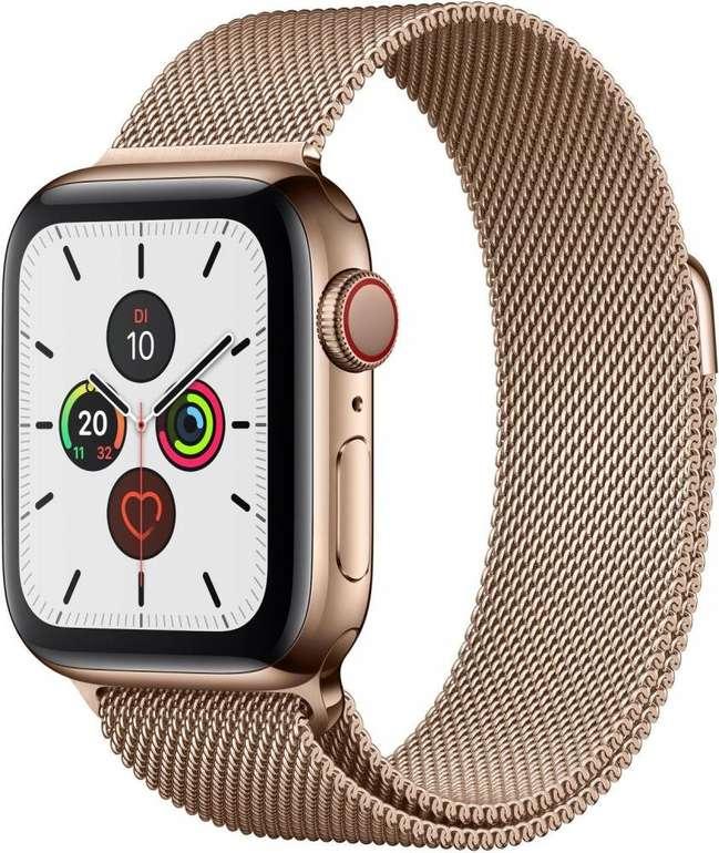 Apple Watch Series 5 (GPS + Cellular, 44 mm) Edelstahlgehäuse Gold - Milanaise Armband für 469,95€ (statt 648€)