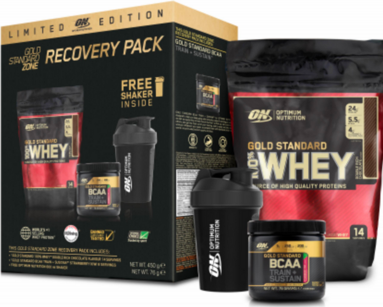 2,25kg ON Gold Standard 100% Whey + 5x Shaker + 380g Gold BCAA Train je 35,49€