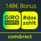 Kostenloses .comdirect Girokonto mit 100€ Prämie + 2€ Aktivprämie pro Monat