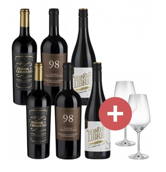 6er-Paket Rotwein-Favoriten + 2er-Set Gläser für 39,95€inkl. Versand (statt 60€)