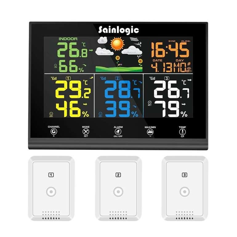 Sainlogic Funk Wetterstation mit 3 Außensensoren für 34,99€ inkl. VSK