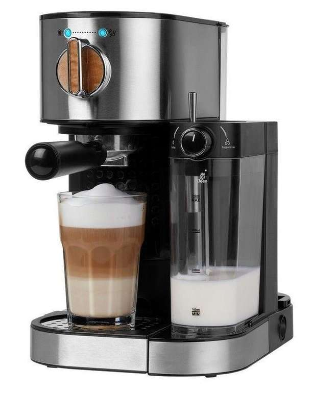Medion Espressomaschine MD 17116 mit integriertem Milchaufschäumer für 89,95€ (statt 107€)