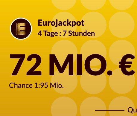 Lotto24: 72 Mio. Euro im Eurojackpot - 8 Felder EuroJackpot für 11,60€ (statt 16,60€) - Für Neukunden!