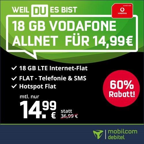 Vodafone green Allnet-Flat mit 18GB LTE für 14,99€ mtl. (Telekom Netz für 16,99€ mtl.)