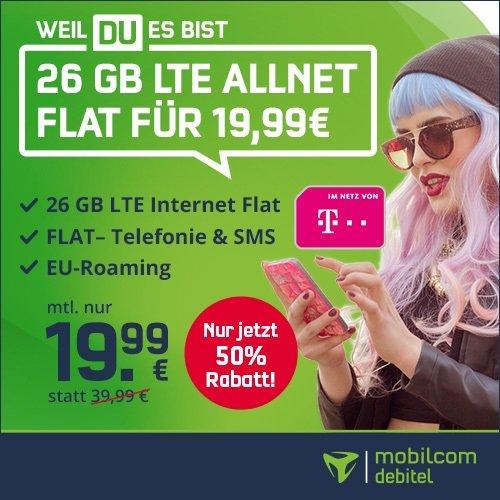 SIM-Only: Mobilcom-Debitel Telekom green Allnet- & SMS- Flat mit 26GB LTE für 19,99€ mtl. + 40€ Media Markt Coupon