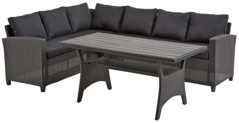 Ullehuse Garten Lounge Eck-Sofa-Set (schwarz, mit Auflagen) für 449€ inkl. Versand (statt 629€)