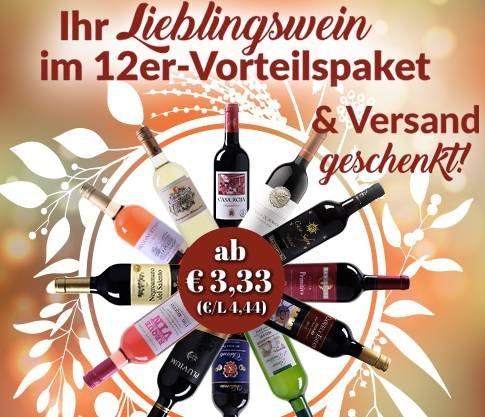 WeinVorteil: 12er Wein Vorteilspakete ab 39,96€ + Versandkostenfrei