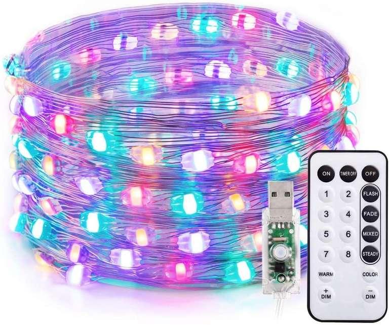 TaoTronics 10m LED Drahtlichterkette (100 LEDs, Warmweiß, RGB) für 6,50€ inkl. Prime Versand