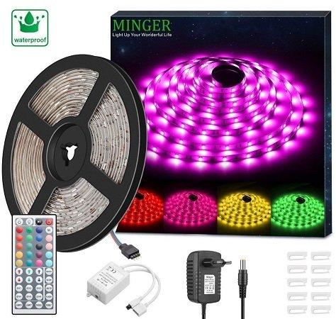 Minger RGB LED Strip Set mit 5 Metern Länge, wasserdicht + Fernbedienung 12,99€
