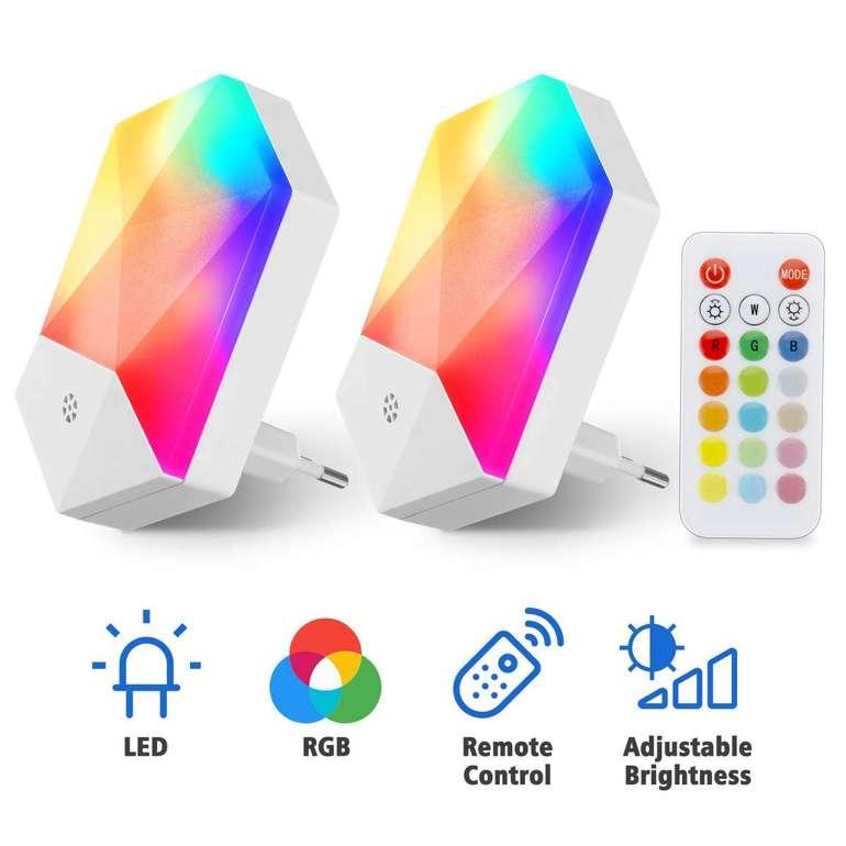Kingso - Doppelpack LED Nachtlichter für die Steckdose (RGB, warmweiß, Fernbedienung) für 11,19€ inkl. Prime Versand