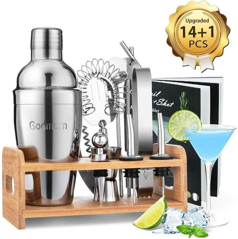 Godmorn - 15-teiliges Edelstahl Cocktail Shaker Set für 18,82€ inkl. Prime Versand (statt 27€)