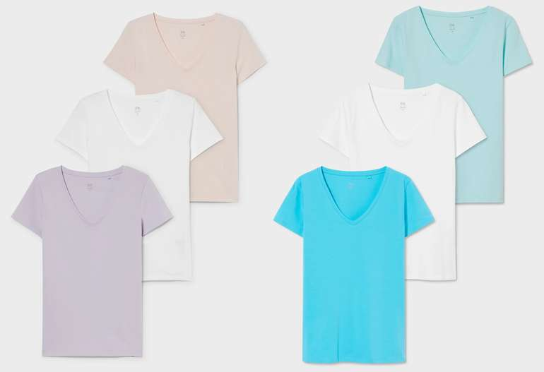 3x 3er Basic-T-Shirts Multipack aus Bio-Baumwolle für 19,98€ inkl. Versand (statt 30€)