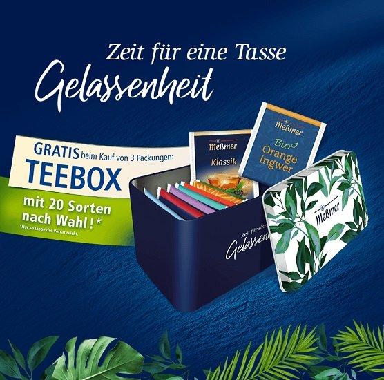 Teebox von Meßmer gratis anfordern beim Kauf von 3 Packungen