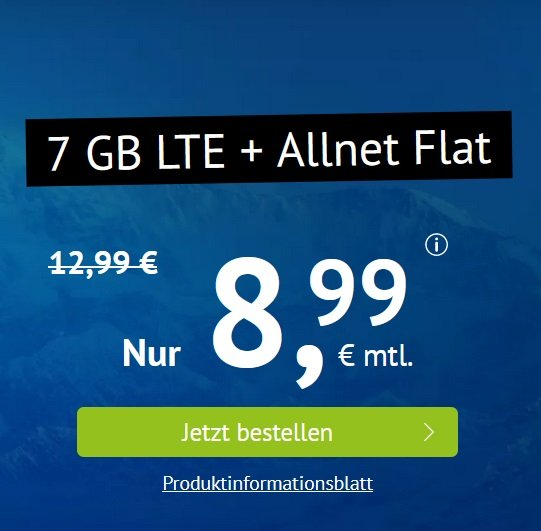 Handyvertrag.de: o2 AllNet- und SMS-Flat mit 7GB LTE für 8,99€ mtl. (monatlich kündbar!)