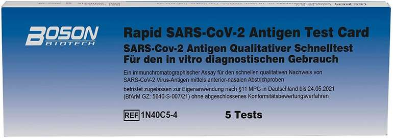 Boson 5er Set Corona SARS-CoV-2 Antigenschnelltest für 18,99€ inkl. Prime Versand