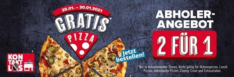 Dominos 2 Pizzen zum Preis von einer bei Abholung 2