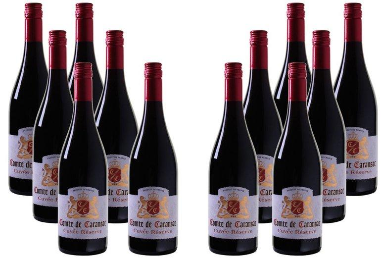 Wein: 12er Paket Comte de Caransac - Cuvée Réserve - Sud de France für 29,99€