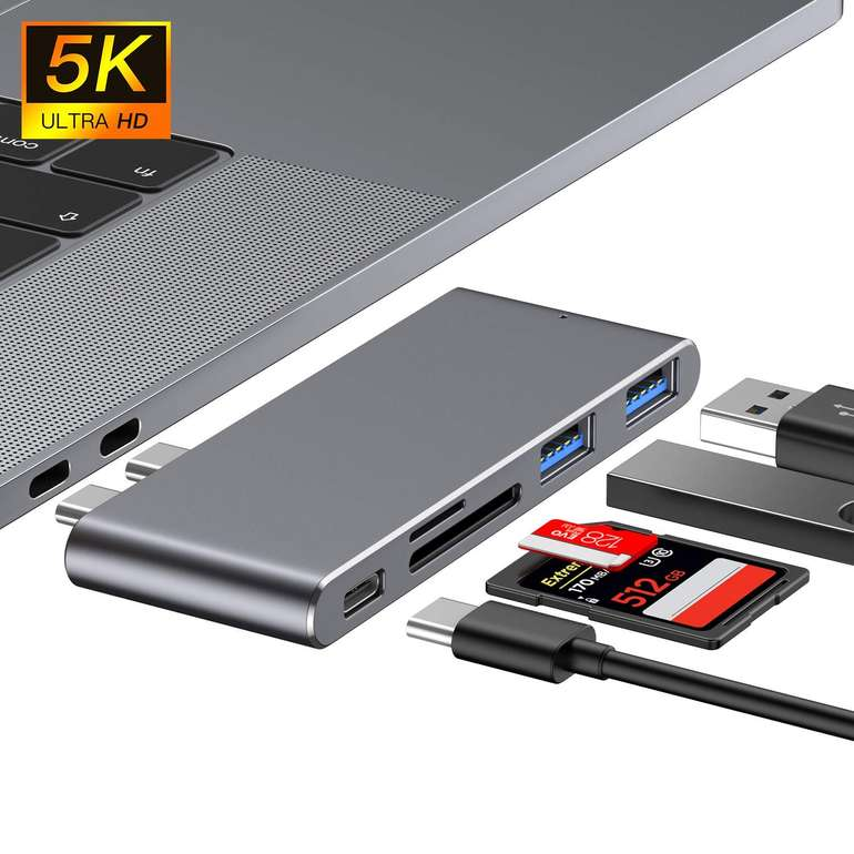Rozeda 5-in-1 USB C Hub (USB 3.0, Thunderbolt, Kartenleser) für 13,29€ (Prime)