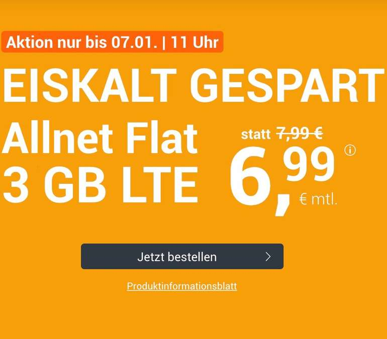 winSIM Allnet-Flat (O2) + 3GB (!) LTE für 6,99€/Monat (mtl. kündbar)