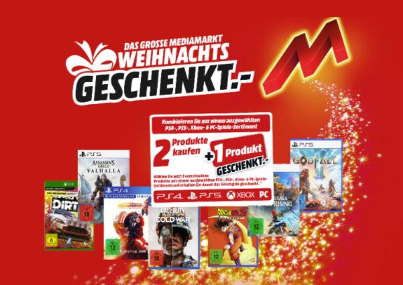 Media Markt: 3 Spiele kaufen - nur 2 bezahlen! (PS4, PS5, XBOX, PC), z.B Assassin's Creed Valhalla + CoD: Black Ops Cold War + Godfall für 133,98€ (statt 179€)