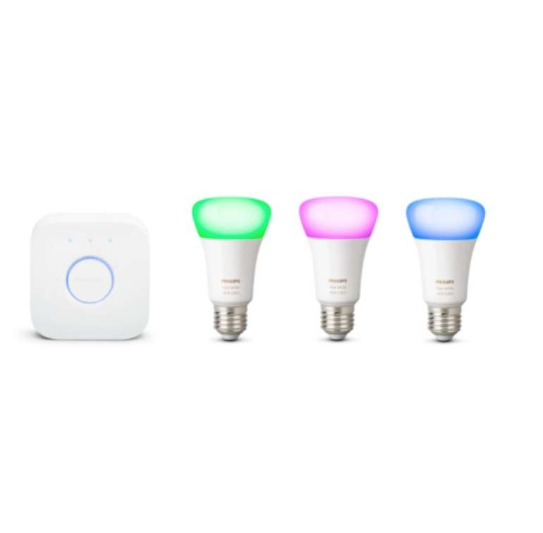 Philips Hue White and Color Ambiance Starter Kit (Bridge + 3x E27 Bunt) für 99,95€ inkl. Versand