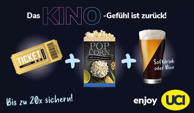 UCI-Kinogutschein für alle 2D-Filme + Popcorn klein + Getränk für 9,99€
