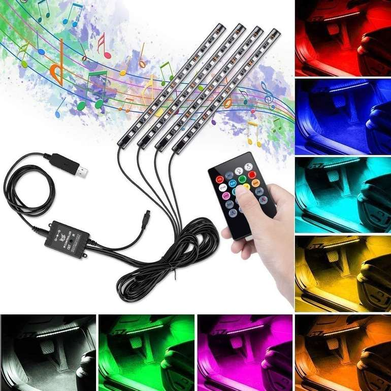 Winzwon Auto LED Innenbeleuchtung mit Music Sync ab 7,99€ inkl. Prime Versand (statt 16€)