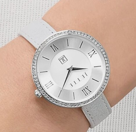JETTE JOOP Damen Quarzuhr in Silber mit Glattlederarmband für nur 42,42€ inkl. VSK (statt 99€)