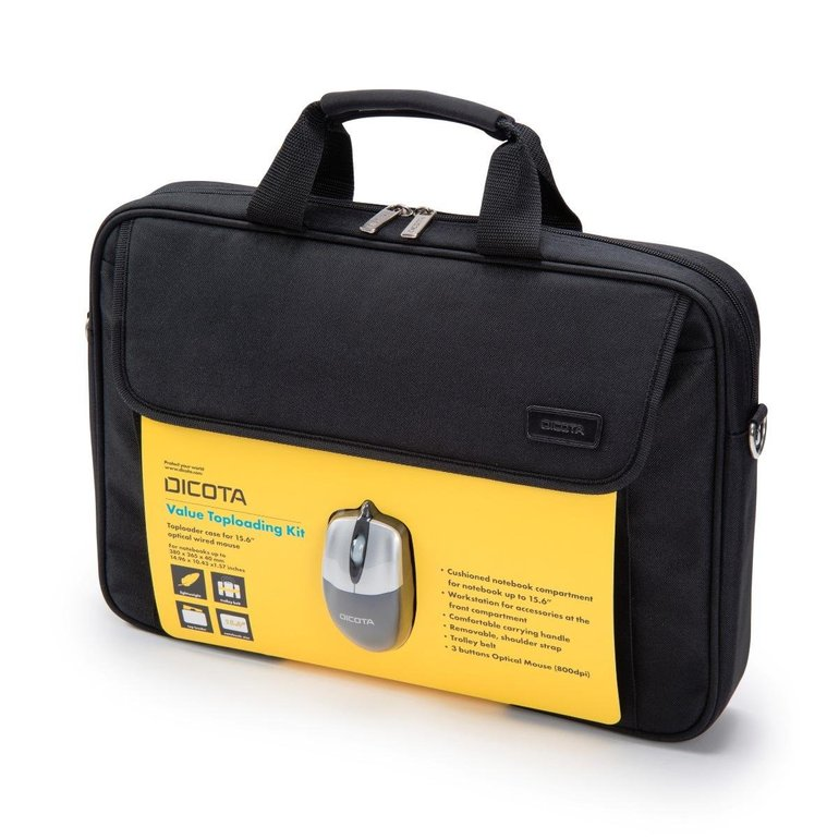 """Dicota Value Toploading Kit (Notebook-Tasche bis 15.6"""" + kabelgebundene optische Maus) für 9,90€"""