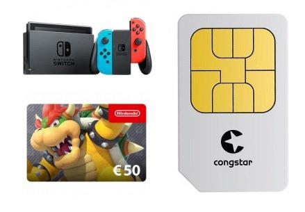 Nintendo Switch (1€) + 50 Euro eShop Gutschein + Congstar Allnet Flat M (8 GB LTE) für 19,50€ mtl.