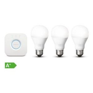 Philips Hue White Starter Set mit 3 x E27 Birnen + Bridge für 59,98€ (VG: 80€)