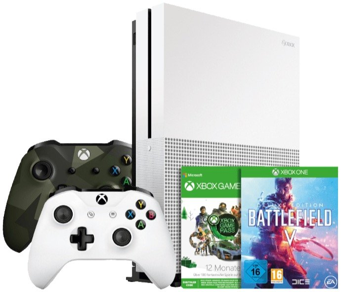 Xbox One S 1TB + 2 Pads + Game Pass + Battlefield 1/5/1943 für 249€ inkl. VSK