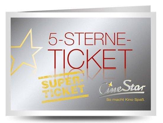 CineStar 5-Sterne-Superticket für fünf 2D-Filme nach Wahl nur 25€