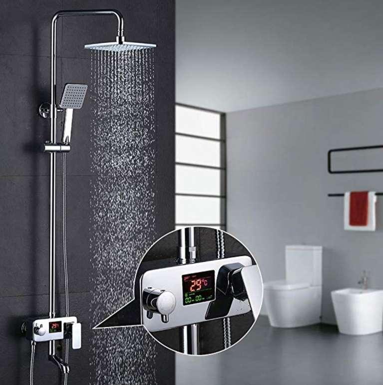 Homelody Duschsystem mit Regendusche, Handbrause & LCD Display für 89,99€