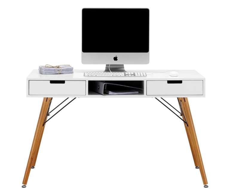 Schreibtisch in Weiß/Braun (Massiv) für 90,30€ inkl. Versand (statt 135€)